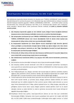 Üniversiteli Yalın ADSL Kampanyası Taahhütnamesi