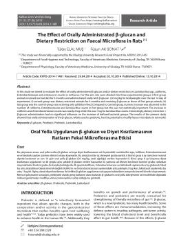 Oral Yolla Uygulanan β-glukan ve Diyet Kısıtlamasının Ratların
