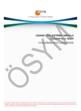 LİSANS YERLEŞTİRME SINAVI-4 COĞRAFYA