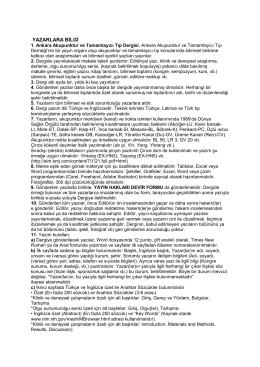 YAZARLARA BİLGİ - Ankara Akupunktur Derneği