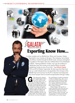 Exporting Know How… - Galata Taşımacılık