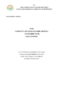 yeterlilik testi sonuç raporu - Gıda Kontrol Laboratuvar Müdürlükleri