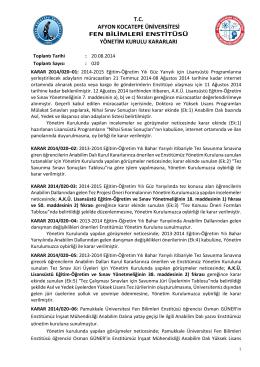 karar 2014/020 - Afyon Kocatepe Üniversitesi