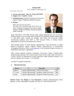 Doç.Dr. Eyüp Artvinli - Eskişehir Osmangazi Üniversitesi Eğitim