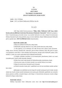 T.C. İ Z M İ R ADLİ YARGI İLK DERECE