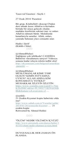 Tasavvuf Gazetesi ~Sayfa 1 27 Ocak 2014