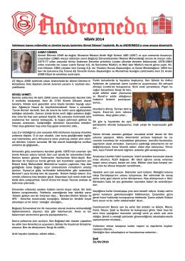 Andromeda Nisan 2014 sayısı sevgili Ahmet Dikmen anısına (pdf)