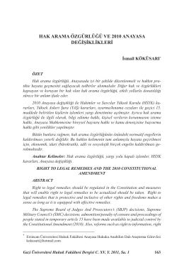 Hak Arama Özgürlüğü ve 2010 Anayasa