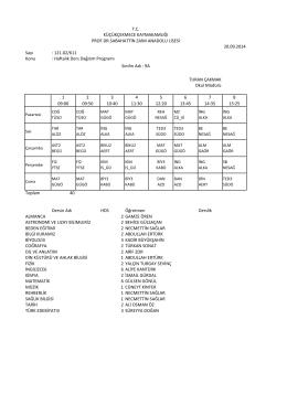 Sayı : 121.02/611 Konu : Haftalık Ders Dağıtım Programı 1 09:00 2