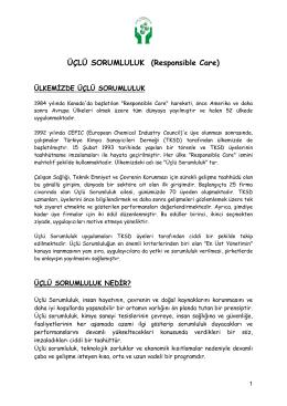 Üçlü Sorumluluk Tanıtım Dosyası - Türkiye Kimya Sanayicileri Derneği