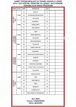 2014-2015 şubat dönemi sorumluluk sınav takvimi