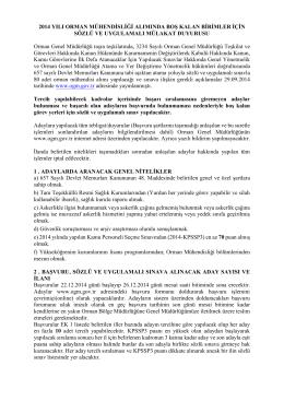 2014 YILI ORMAN MÜHENDİSLİĞİ ALIMINDA BOŞ KALAN