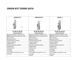 ORION BTE TEKNİK DATA