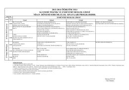 EML Sınav Programı - Kayseri Teknik ve Endüstri Meslek Lisesi