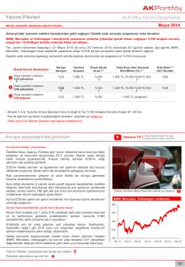 Yatırım Fikirleri - Akbank Yatırımcı