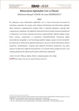 Bilmecelerin Eğitimdeki Yeri ve Önemi1 - EBAD-JESR