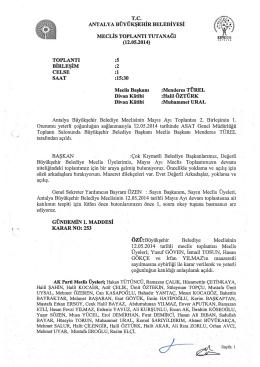 12.05.2014 Tarihli Meclis Toplantı Tutanağı