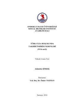 Örnek Tez - Sosyal Bilimler Enstitüsü
