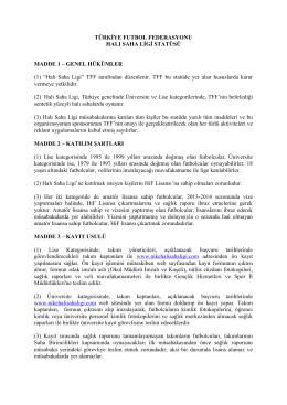 Halı Saha Ligi Statüsü - Türkiye Futbol Federasyonu