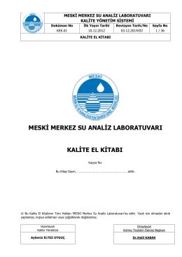 Kalite El Kitabı - Mersin Su ve Kanalizasyon İdaresi