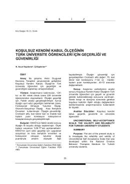 koşulsuz kendini kabul ölçeğinin türk üniversite öğrencileri