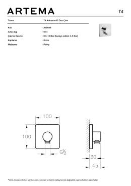 Tanım T4 Ankastre El Duu Çıkıı Kod :A40649 Aırlık (kg