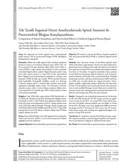 Tek Taraflı İnguinal Herni Ameliyatlarında Spinal