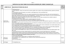 İlçe Gıda Tarım ve hayvancılık Müdürlüğü Hizmet Standartları