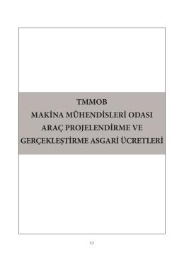 Makine Mühendisleri Odası Asgari Fiyat Çizelgesi – 2014
