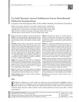 Üç Farklı Yöntemin Anestezi İndüksiyonu Sonrası
