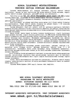 02.10.2014 Tarihli Yerinde Satış Hurda Malzeme İhale listesi