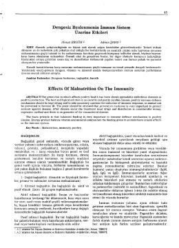 Cilt 1 Sayi 1 Makale 7 Dengesiz Beslenmenin İmmum Sistem