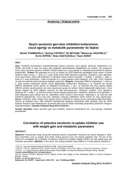 Seçici serotonin geri-alım inhibitörü kullanımının