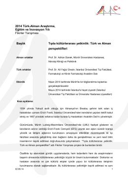 Tıpta kültürlerarası yetkinlik: Türk ve Alman perspektifleri