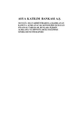 30 Eylül 2014 - Solo Bağımsız Denetim Raporu