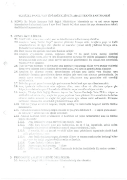4X2 DİZEL PANEL VAN TİPİ SOĞUK ZİNCİR ARACI TEKNİK