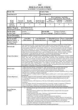 GID 232 - İTÜ Gıda Mühendisliği Bölümü