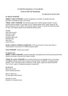 29 Aralık 2014 - 2 Ocak 2015 Etkinlikleri