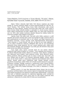 Tuner BAYKARA, Tarih Araştırma ve Yazma Metodu, IQ Kültür Sanat