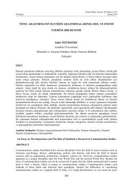 Şakir ÖZÜDOĞRU Nitel Araştırmanın İletişim Araştırmalarında Rol