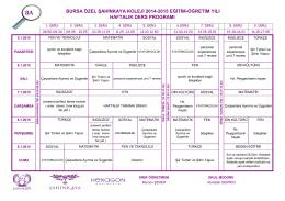 bursa özel şahinkaya koleji 2014-2015 eğitim