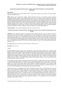 Dumlupınar Üniversitesi Sosyal Bilimler Dergisi / Dumlupınar