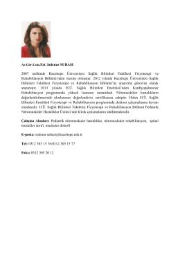 Uzm. Fzt. Şulenur SUBAŞI - Hacettepe Üniversitesi