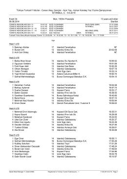 Açık Yaş - Ayhan Karataş Yaz Yüzme Şampiyonası İSTANBUL, 5.