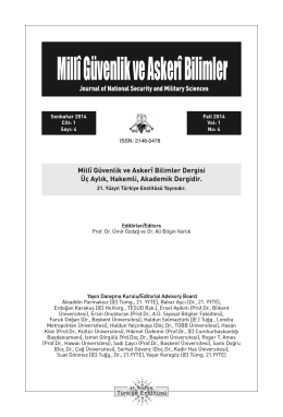 Millî Güvenlik ve Askerî Bilimler - Millî Güvenlik ve Askeri Bilimler