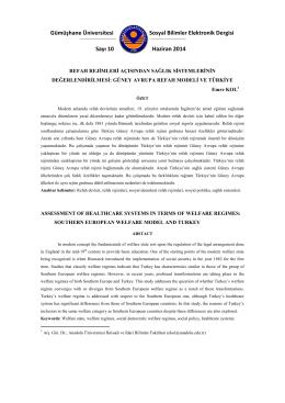 Güney Avrupa Refah Modeli ve Türkiye