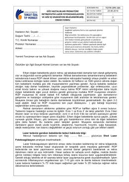 TOTM-OFR-304 Göz Hastalıkları Prematüre Retinopatisi Lazer