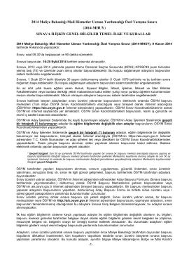 2014 Maliye Bakanlığı Mali Hizmetler Uzman Yardımcılığı Özel