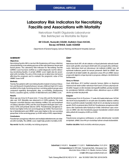 Laboratory Risk Indicators for Necrotizing Fasciitis