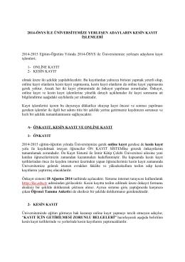 2014-ÖSYS İLE ÜNİVERSİTEMİZE YERLEŞEN ADAYLARIN KESİN